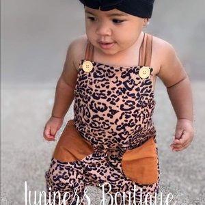 Boutique Girls Leopard Over-Alls Romper